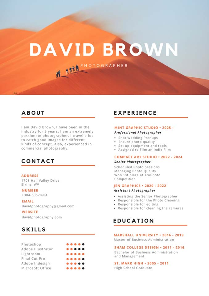 Mẫu CV tiếng Anh 6