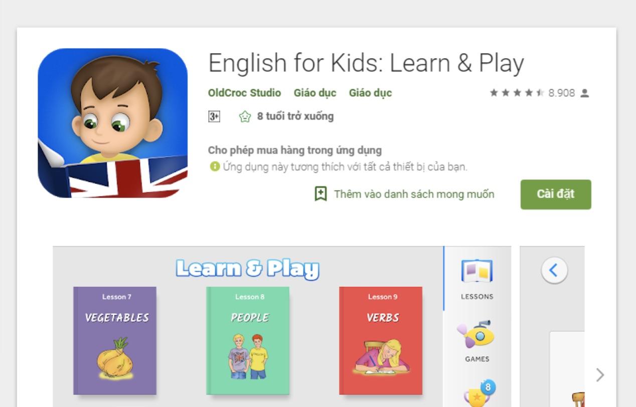 Phần mềm học tiếng Anh cho bé